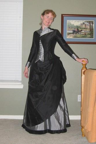 1886 Navy Faille Walking Dress