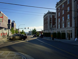 Looking west towards the docks and Monte Cristo Hotel along Wall Street at Colby Street, Everett, Washington