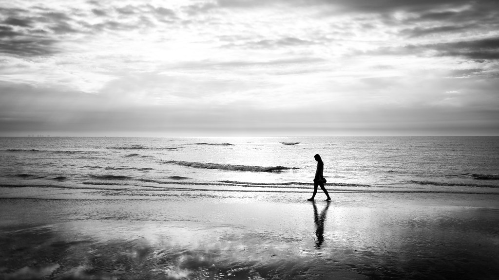 Walking on the beach - Sanibel, United States - Black and white street photography