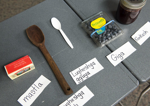 Items to make jam are shown labeled with their Dena'ina names during a presentation at Kenai Peninsula College.