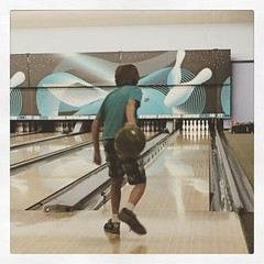Bowling. This year he's going sans dino ramp. Doing pretty good with just the bumpers. #bowling #GrandpaH #family #funtimes