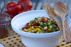 chickpea salad with cucumber, tomatoes & peppe…