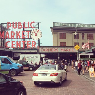 "It's always a good day for Pike Place Market. Although I always want to say to the cars turning down this street, ""Don't do it! You will regret this!"" #latergram #seattle"