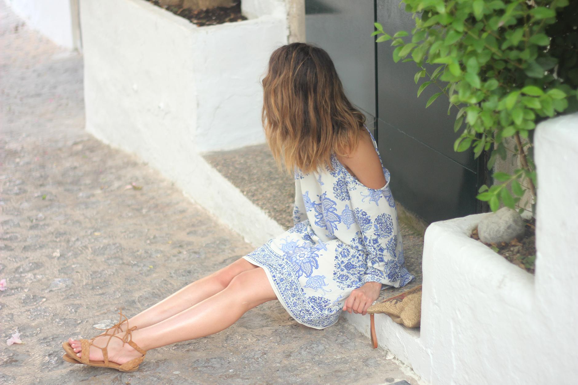 Summer White And Blue Dress Ibiza20