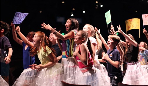 Junior Company members rehearse a scene during Bye Bye Birdie, summer 2015. Photo by Susan P. Miller.