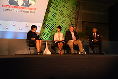 U.S. Secretary of Commerce Penny Pritzker, left, participates in the 'Investor Ready' panel with U.S. Presidential Ambassador for Global Entrepreneurship (PAGE) Julie Hann, José Andrés, Culinary Ambassador to the Global Alliance for Clean Cookstoves, and U.S. PAGE Ambassador Daymond John at the Global Entrepreneurship Summit at the United Nations Compound in Nairobi, Kenya, on July 23, 2015. This is the sixth annual gathering of entrepreneurs at all stages of business development, business leaders, mentors, and high-level government officials. The established tradition demonstrates the U.S. Government's continued commitment to fostering entrepreneurship around the world. [State Department photo/ Public Domain]