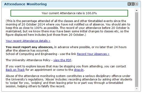 Attendance on portal