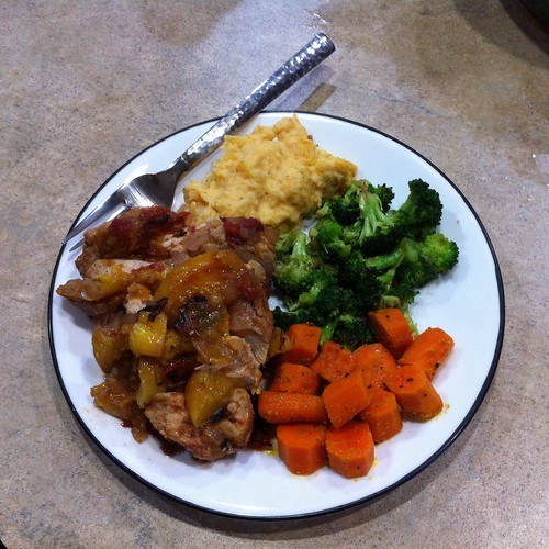 Peach chicken, mashed red potato/sweet potato/cauliflower, with steamed broccoli and carrots.