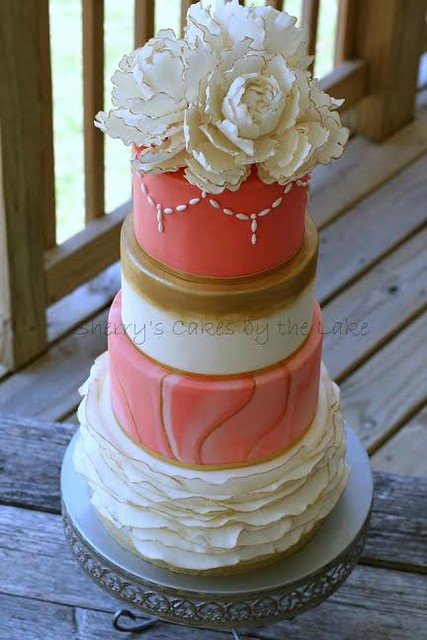 Coral Wedding Cake by Sherry's Cakes by the Lake