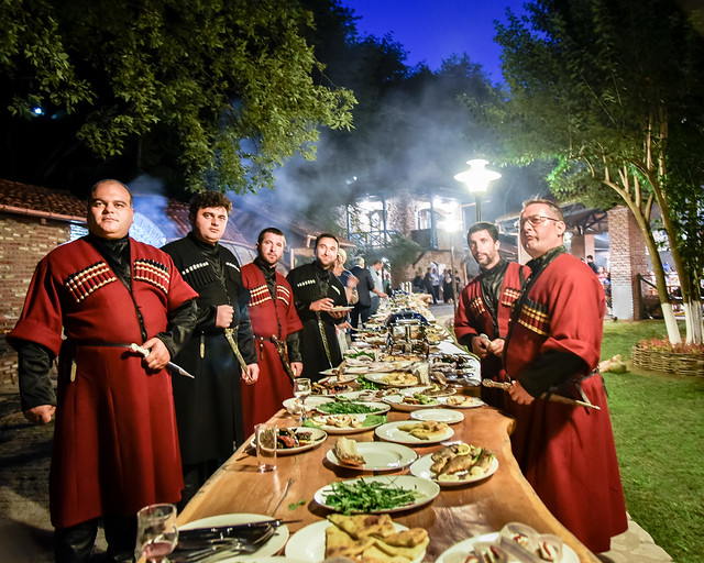 Georgian folk singers at Georgian feast