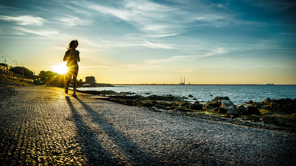 Running at sunset, Dublin, Ireland picture