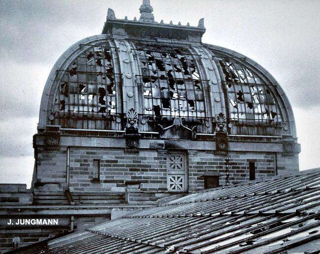 verrières du dôme de la Bibliothèque universitaire de Strasbourg détruites par l'orage de grêle du 11 août 1958 météopassion