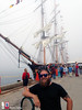 Striking a pose in front of Oliver Hazard Perry