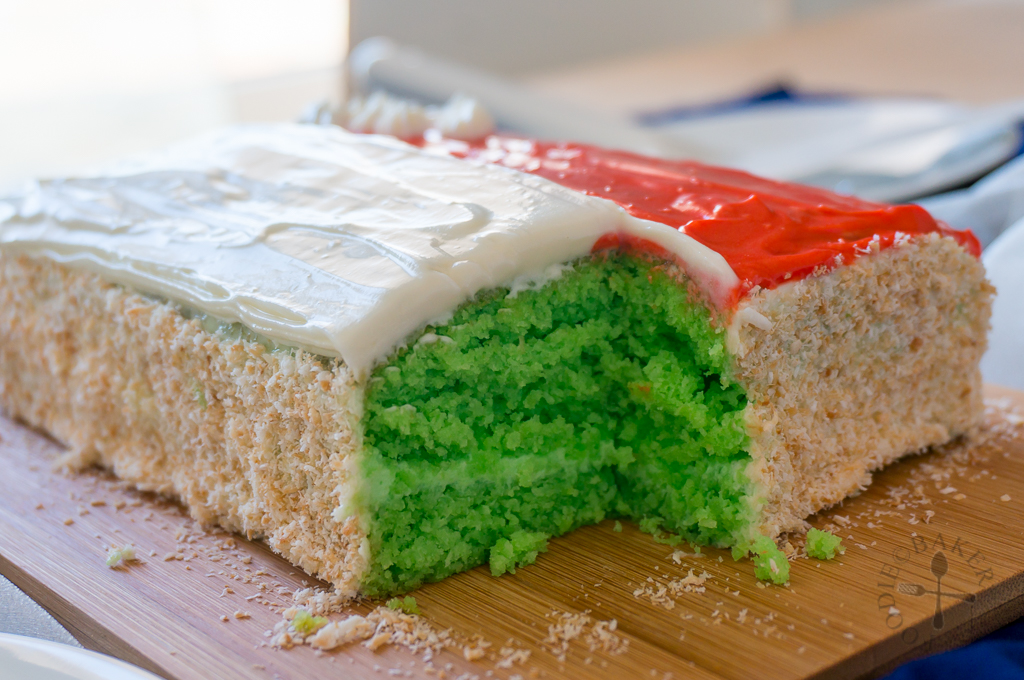 Pandan-Coconut Cake with Cream Cheese Frosting