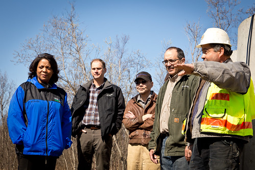 Acting Deputy Under Secretary Vernita Dore (left) touring the wastewater facility under construction in Lower Kalskag, Alaska
