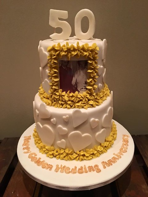 Golden Wedding Anniversary Cake by Yum Cakes