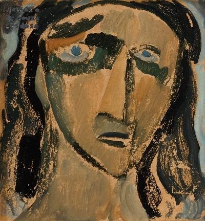 30.- Bruxa louca - cabeça, 1914. óleo sobre cartão, Coleção particular em depósito no Museu Municipal Amadeo Souza-Cardoso