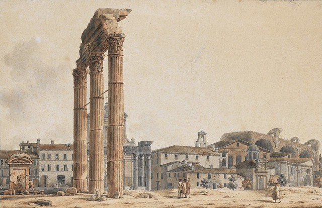 """ROMA ARCHEOLOGIA e RESTAURO ARCHITETTURA: ROMA, IL FORO ROMANO: """"Veduta del Foro Romano[prima del 1811?]."""" V. J. Nicolle (French, Paris 1754 – 1826 Paris). TABLEAUX ET DESSINS ANCIENS ET DU XIXE SIÈCLE, SOTHERBY'S (2012 [2017])."""