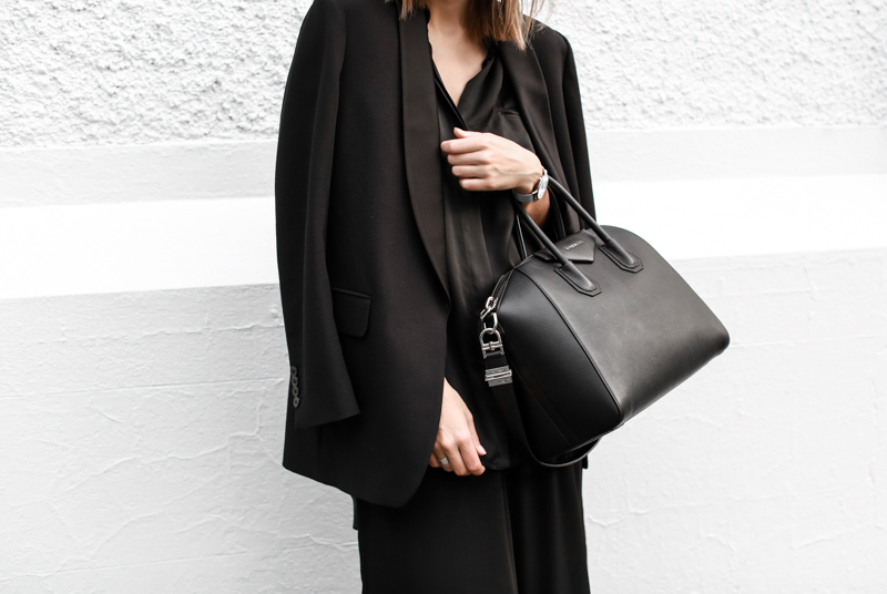 modern legacy, fashion blog, street style, blogger, all black, Bassike, resort wear, Givenchy Medium Antigona, Haider Ackermann, Larsson Jennings metal watch,  satin lapel blazer (1 of 1)