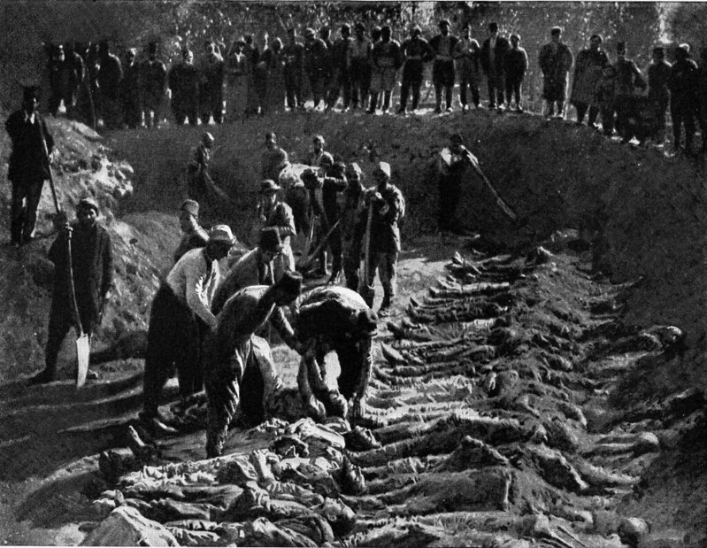 The Erzeroum Armenian victims of the massacres buried in a mass grave in Erzeroum cemetery