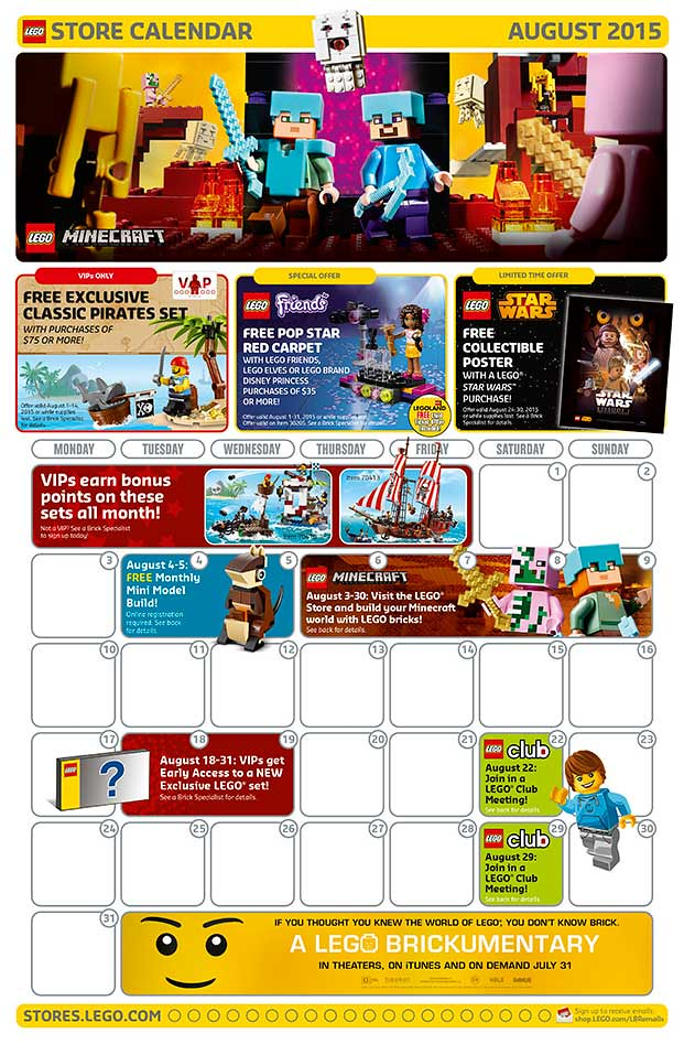 LEGO Shop August 2015 Calendar