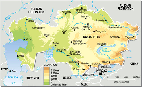 Kazakhstan topographic map grid arendal kazakhstan topographic map sciox Choice Image