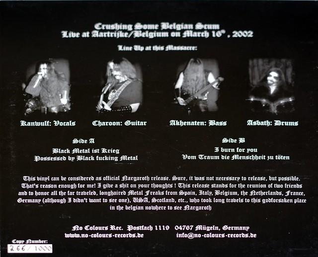 "NARGAROTH CRUSHING SOME BELGIAN SCUM LIMITED EDITION 12"" LP VINYL"