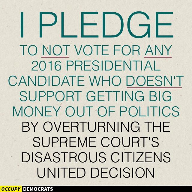 occupy democrats pledge no vote if no citizens united