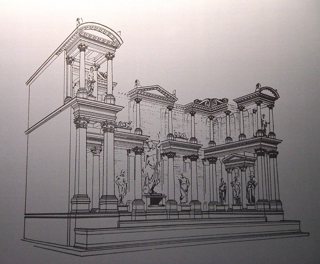 Reconstruction drawing of the Fountain of Trajan, Ephesus Museum, Selçuk, Turkey