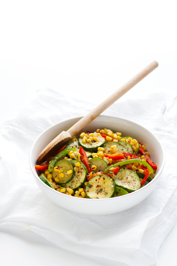 Quick Corn and Zucchini Saute that's ready in 10 minutes are is the perfect side dish for any meal! #zucchini #corn #sidedish #vegetarian | Littlespicejar.com