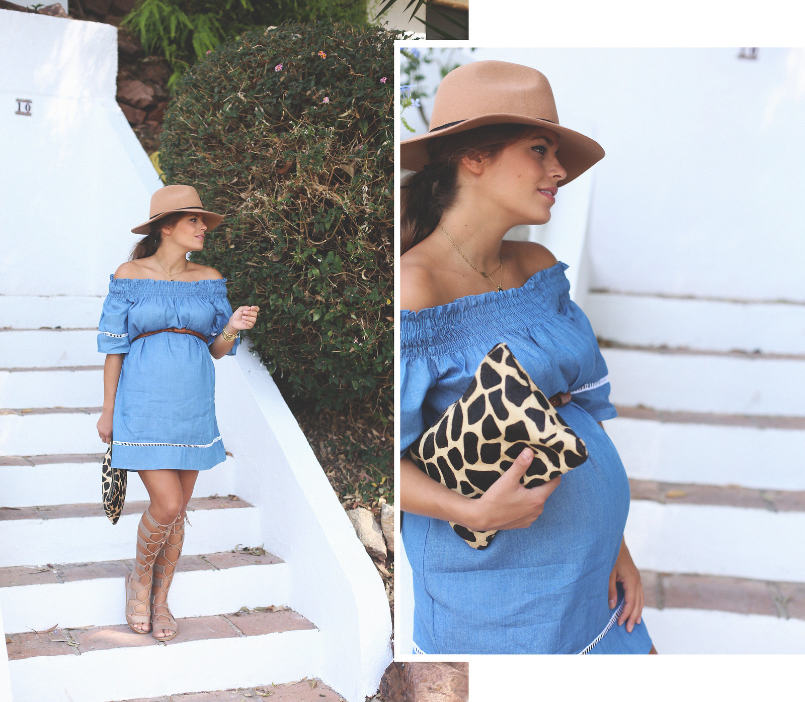 1. off shoulders denim dress - jessie chanes - pregnancy