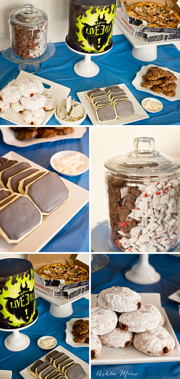 chalkboard cookies with edible chalk, black and white puppy chow, first date jelly donuts and more villian inspired themed party foods for this Disney Descendants viewing party