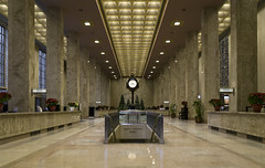 20161221. Toronto's beautiful Bank of Nova Scotia building banking hall features marble columns and counters, coffered decorated ceiling and a lovely clock.