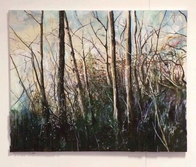 Large canvas -mixed media woods exhibited at my end of year gallery (open to the public) at nwhc /art college. #twigs #sticks #cardboard #bookpages #paper #acrylicpainting #text #storybook #life #nature #trees #sunset #natural #mess #expression