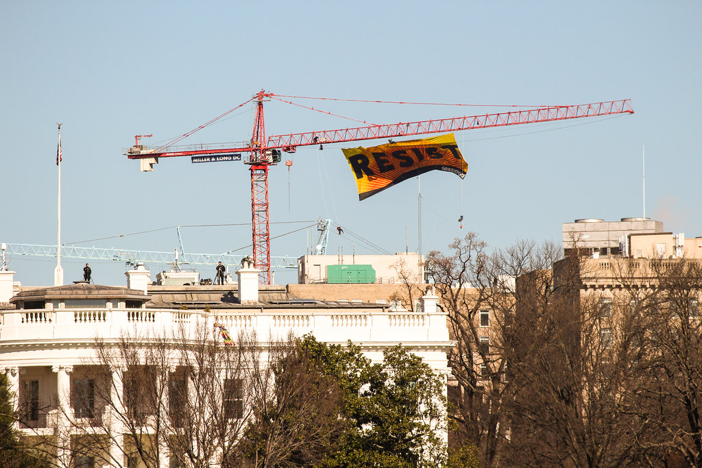 Resist banner over the White House