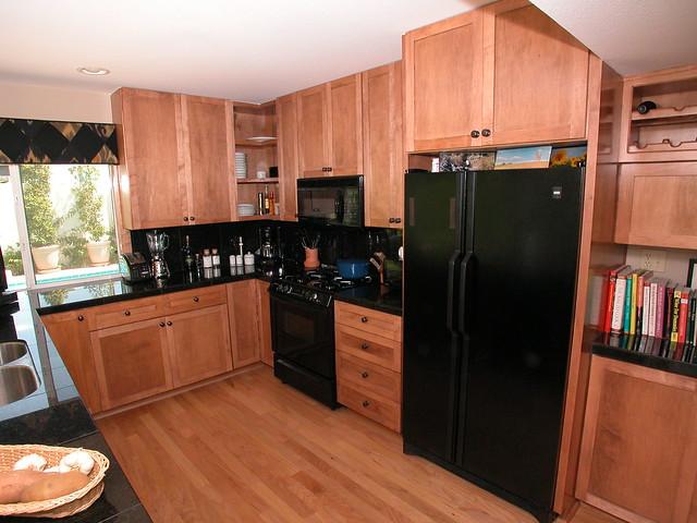 Clean contemporary kitchen flickr photo sharing - Modern kitchen with black appliances ...