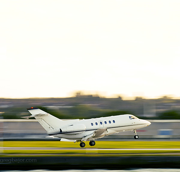 Corporate jet  touching down