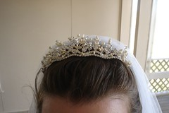 veil(1.0), bridal veil(1.0), clothing(1.0), headpiece(1.0), tiara(1.0), headgear(1.0),