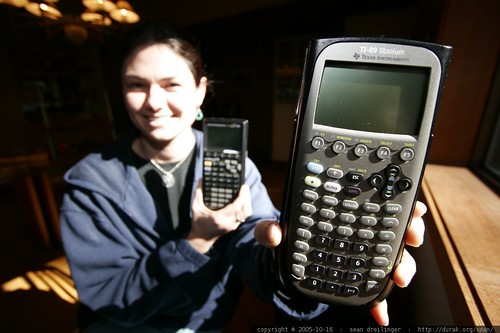 a girl and her (scientific graphing) calculators
