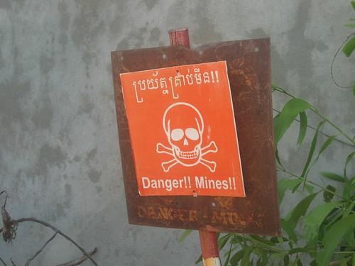 Landmine warning, Cambodia