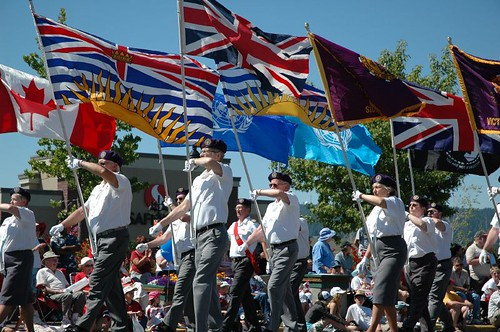 Canada Day Parade / Sidney Days Parade - Vetrans Flags - Canada Flag
