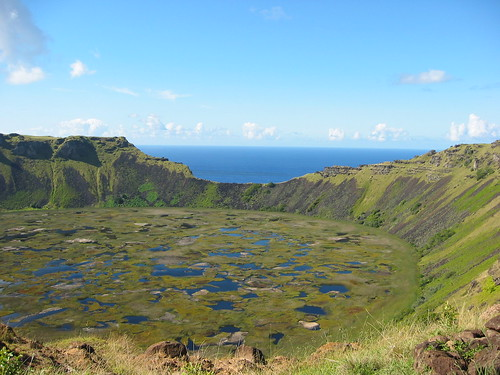 Looking down into the Crater of Rano Kau