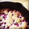 Raspberry cornmeal cake cooling.