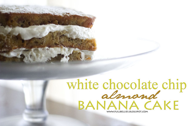 White chocolate chip, almond, banana cake
