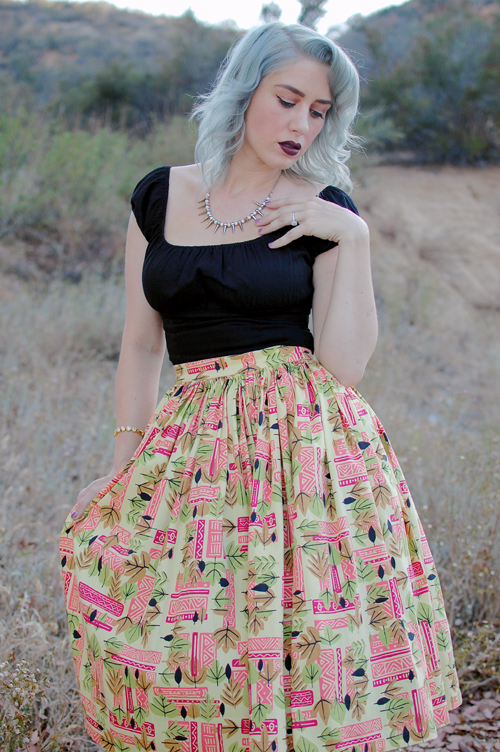 Pinup Girl Clothing Jenny skirt in Tiki print