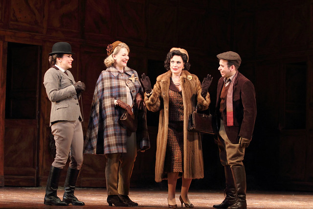 Anna Devin as Nannetta, Kai Rüütel as Meg Page, Ainhoa Arteta as Alice Ford and Luis Gomes as Fenton in Falstaff ©2015 ROH. Photograph by Catherine Ashmore