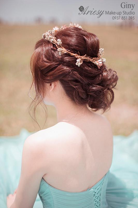 Giny,愛瑞思,愛瑞思造型團隊,清透妝感,自助婚紗,旗袍造型,鮮花造型,蓬鬆盤髮,時尚造型