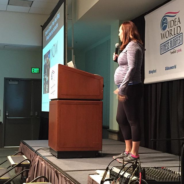 The bump was on full display today at #ideaworld #sweatpink #blogfest -- thanks to @momslrb for catching me in action!