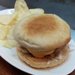 meat(0.0), crumpet(0.0), breakfast sandwich(0.0), meal(1.0), breakfast(1.0), junk food(1.0), hamburger(1.0), food(1.0), english muffin(1.0), dish(1.0), cuisine(1.0), cheeseburger(1.0),