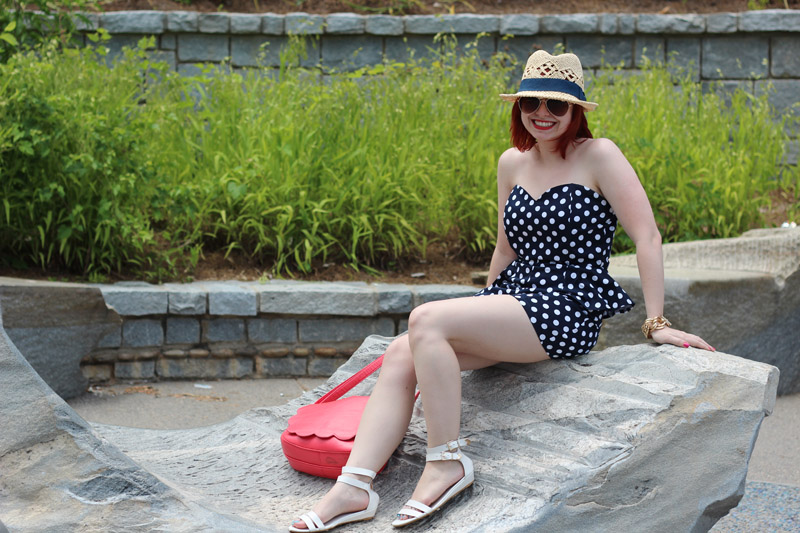 Strapless Sweetheart Neckline Dotted Romper with White Flat Sandals and a Summer Hat